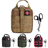Tactical MOLLE Rip-Away EMT Medical First Aid Utility Pouch (Tan with First Aid Patch) (Color: Tan with First Aid Patch)
