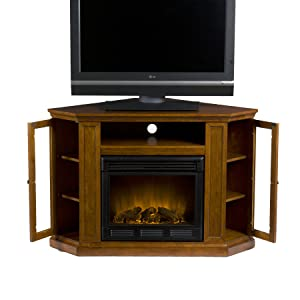 SEI Claremont Media Console With Corner Electric Fireplace