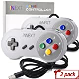 2 Pack New SNES Super Controller, iNNEXT Retro USB Super Classic Controller for PC Mac Linux Raspberry Pi 3 Steam Sega Genesis Higan (Multicolored Keys)