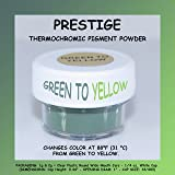 PRESTIGE THERMOCHROMIC PIGMENT THAT CHANGES COLOR AT 88°F (31 °C) FROM COLORED TO TRANSPARENT (Colored Below The Temperature, Transparent Above) Perfect For Color Changing Slime! (2g, GREEN TO YELLOW) (Color: GREEN TO YELLOW, Tamaño: 2g)