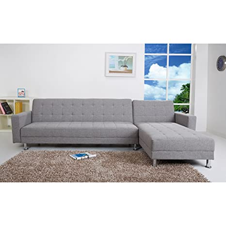 Gold Sparrow Frankfort Fabric Convertible Sectional in Ash