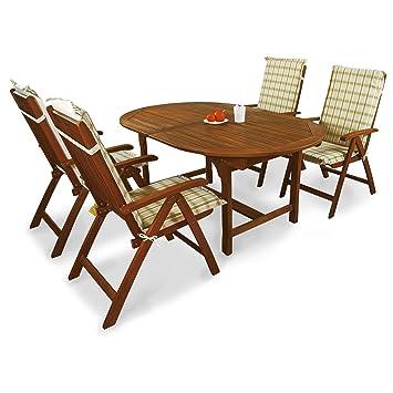 indoba® IND-70068-BASE5 + IND-70412-AUHL - Serie Bali - Gartenmöbel Set 9-teilig aus Holz FSC zertifiziert - 4 klappbare Gartenstuhle + ausziehbarer Gartentisch + 4 Comfort Auflagen Karo Grun