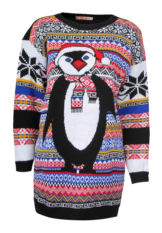 Aztec Penguin Print Christmas Jumper