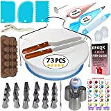 73 pcs Cake Decorating Supplies Kit for Beginners-1 Turntable stand-24 Numbered Easy to use icing tips with pattern chart and E.Book-1 Cake Leveler-Straight and Angled Spatula-3 Russian Piping nozzles (Color: White, Tamaño: 73 Pcs)