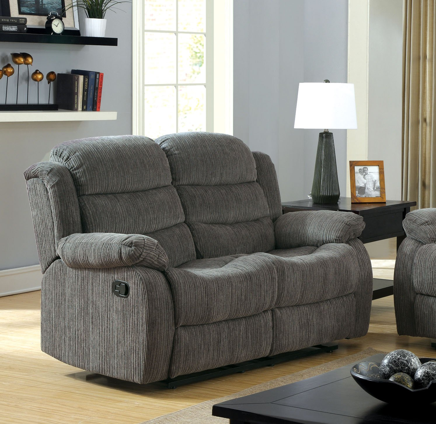 Furniture of America Blake Chenille Love Seat with 2-Recliner - Gray