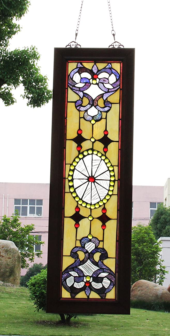 Makenier Vintage Tiffany Style Stained Church Art Glass Decorative Long and Narrow Window Panel Wall Hanging 4