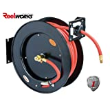 ReelWorks L815153A Steel Retractable Air Compressor/Water Hose Reel with 3/8