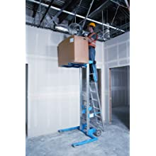 "Genie Lift, GL- 10, Straddle Base with Ladder, Heavy-Duty Aluminum Manual Lift, 350 lbs Load Capacity, Lift Height 11' 8"" from Ground Level"