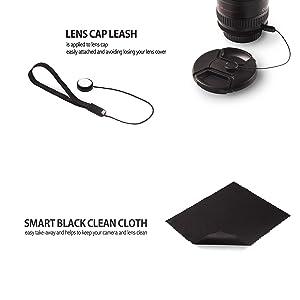 Lens Cap Keeper Holder Buckle Kit - Lens Cap Buckle(Work for 52-67mm) + 3Lens Covers Caps- Lens Cap Keepers Included (52/58/67mm) (Tamaño: 52mm-67mm)