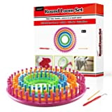 LAYOER Round Knitting Loom Set with Hook Needle Kit Yarn Cord Knitter 4 Hat Looms(Round) (Tamaño: Round)