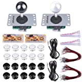 Quimat 2 Player Arcade Game Button and Joysticks Controller Kit with Zero Delay Encoder Board,5Pin Joysticks and Buttons for Mame Jamma & Other Fighting Games, Compatible with Windows and Raspberry Pi