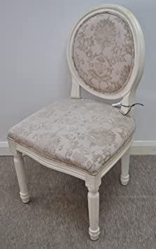 Cream and biscuit flock votive French style feature chair - dressing table chair