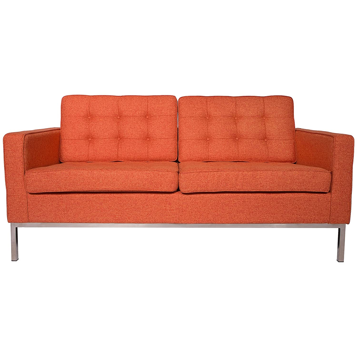 LeisureMod® Modern Florence Style Fabric Loveseat Sofa in Orange Twill Wool