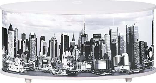 Simmob print110bl508 New York TV Stand/Panel Wood 45.4 x 50.8 x 110,4 cm Melamine White