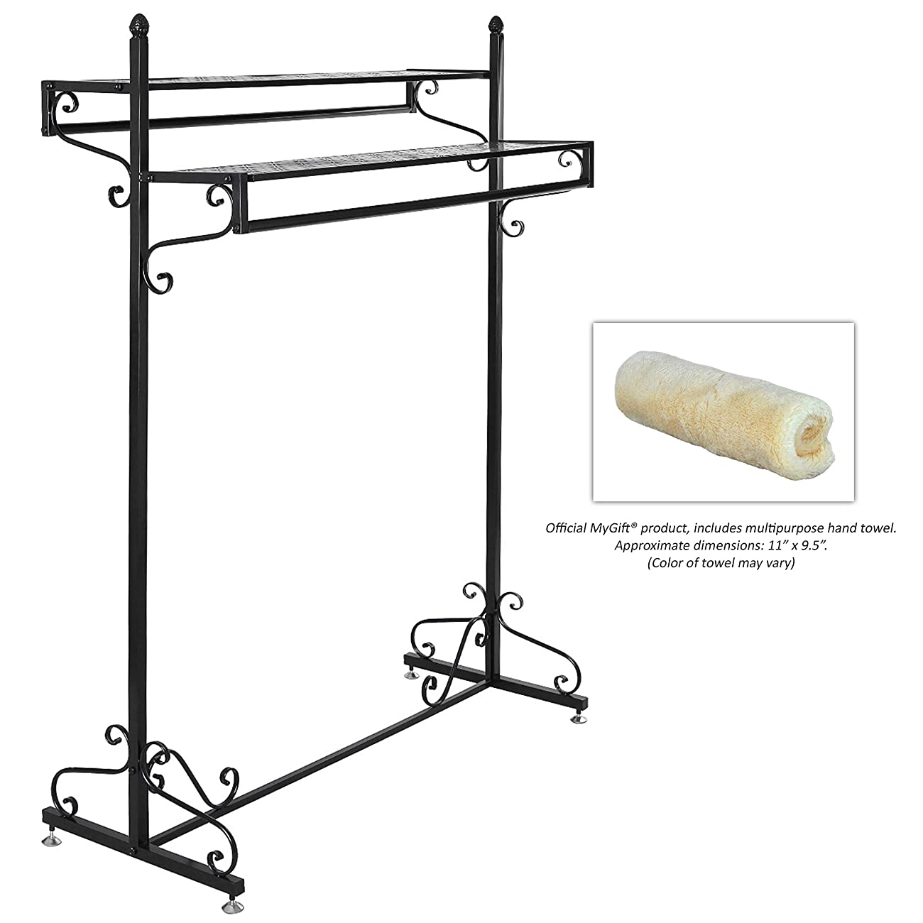 Victorian Style Boutique Clothes / Garment Display Rack w/ Dual Hangrail & Cargo Shelves, Black - MyGift® 3