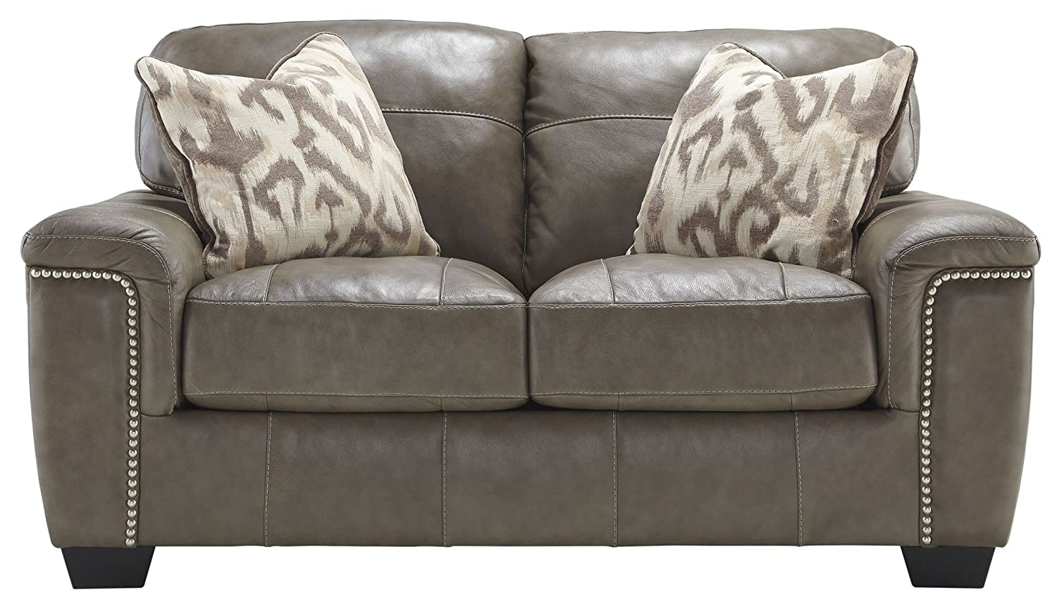 Ashley Donnell Leather Loveseat in Granite