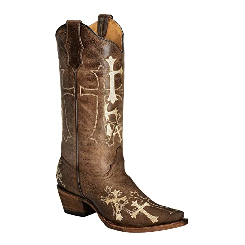 Corral Womens Circle G Beige Cross Embroidered Cowgirl Boot Snip Toe