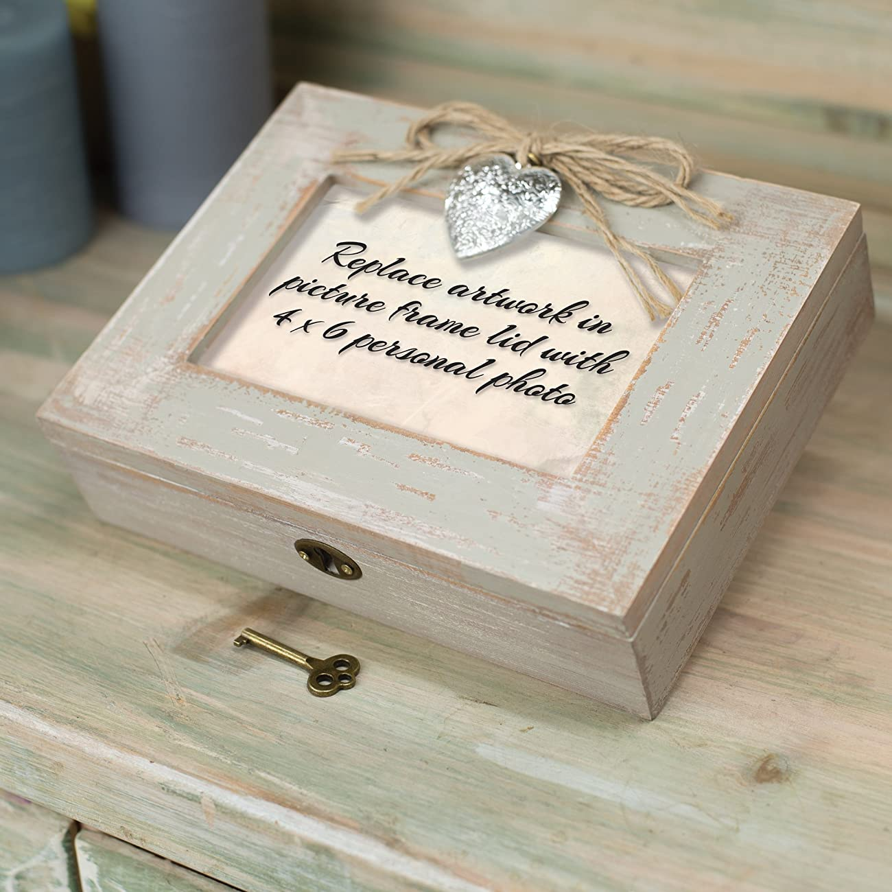 Be Still & Know That I am God Distressed Wood Locket Jewelry Music Box Plays Tune Amazing Grace 4
