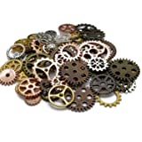 100 Gram (Approx 80pcs) DIY Assorted Color Antique Metal Steampunk Gears Charms Pendant Clock Watch Wheel Gear for Crafting, Cosplay Halloween Decoration,Jewelry Making Accessory (Color: Assorted Color)