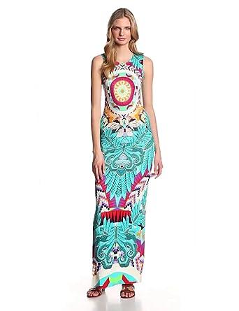 Mara Hoffman Women's Ponte Fitted Sleeveless Column Dress, Jungle Trip Turquoise, X-Small