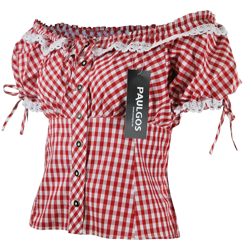 PAULGOS Damen Trachtenbluse Carmenbluse Trachten Bluse Rot Blau Weiss Kariert online bestellen