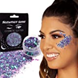 Chunky Cosmetic Holographic Body Glitter – Nail, Hair, Face & Body Glitter | Festival Rave Accessories by SoJourner (Mystic Mermaid)