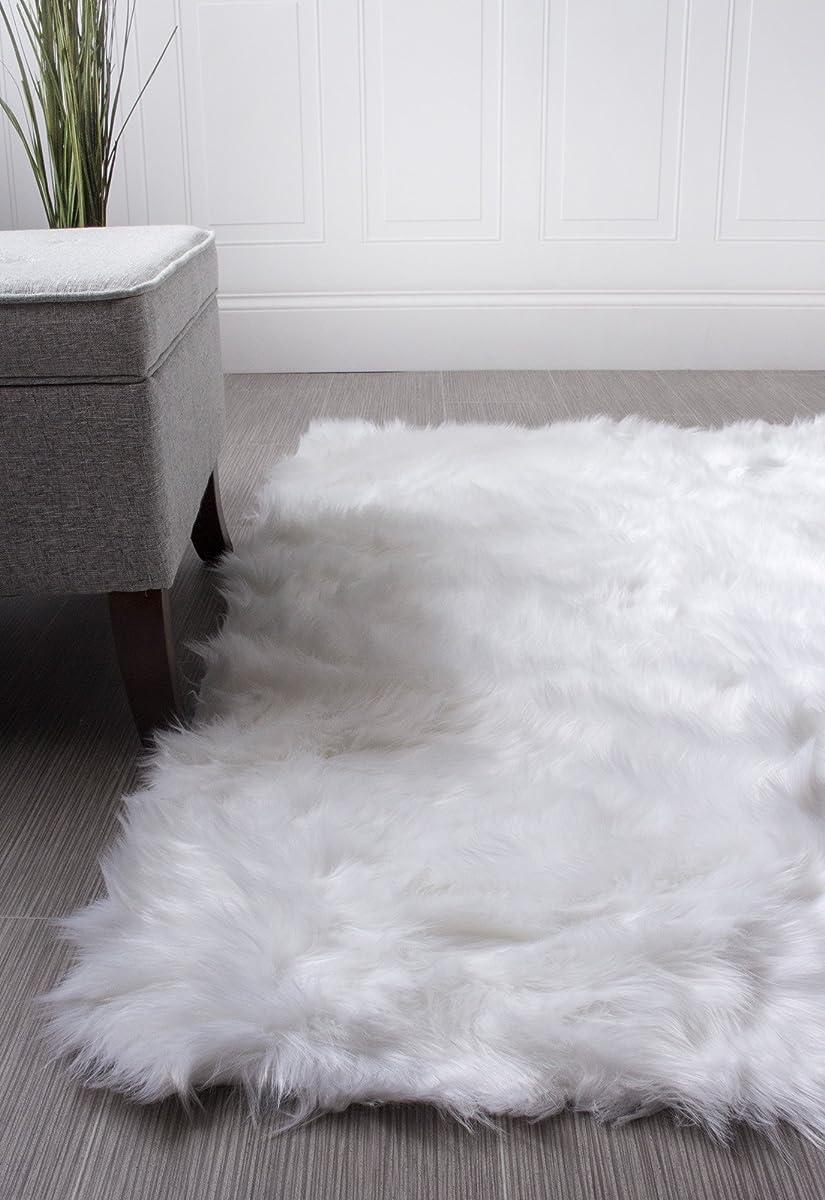 Super Area Rugs Soft Faux Sheepskin Flokati Shag Silky Rug Baby Nursery Childrens Room Rug in White, 5 x 7