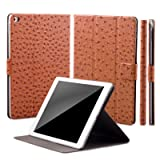 Apple iPad Air 2 Case | 360° Rotating Stand | Ostrich caramel | iCues Manzano Cover | other Leather - and color variations available | Smart Wallet Flip Thin Ultra Slim