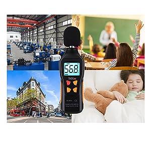 TACKLIFE Decibel Meter, Digital Sound Level Meter Range 30-130dBA, Max/Min/Hold Data, Fast/Slow Mode, LCD Backlight Display/Flashlight (9 V Battery Included) - MLM02 (Tamaño: MLM02)