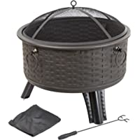 Pure Garden 26 Round Woven Metal Fire Pit with Cover (Antique Bronze)