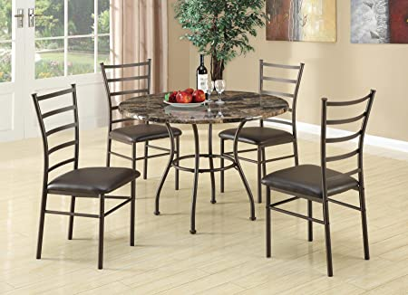 Coaster Furniture 150112 5Pc Dining Set Round Table Ladderback Chairs