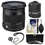 Sigma 17-70mm f/2.8-4 Contemporary DC Macro OS HSM Zoom Lens for Nikon DSLR Cameras with Pouch + 3 UV/CPL/ND8 Filters + Kit (Color: Black)