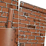 3D Brick Wallpaper Self-Adhesive Vinyl Wall Paper Removable Decorative Wallpaper Peel and Stick Waterproof Wallpaper for Home Design (17.7