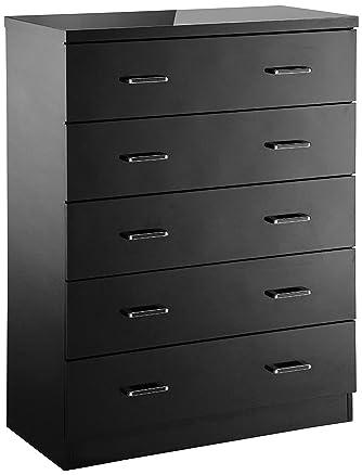 LPD Furniture-Cassettiera a 5 cassetti con finitura lucida, 40 x 86 x 114 cm, colore: nero
