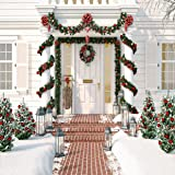 AIIKES 10x10FT Christmas White House Photography Backdrops Christmas Tree Wreath Wood Brick Wall Snow Outdoor Photo Background for Xmas Supplies Home Party Decorations Photo Studio Booth Props 11-720 (Color: 11-720 10x10FT, Tamaño: 10x10FT)