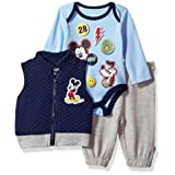 Disney Baby Boys' Mickey Mouse 3 Piece Vest, Bodysuit OR T-Shirt, and Pant Set, Medieval Blue, 0-3M (Color: Medieval Blue, Tamaño: 0-3M)