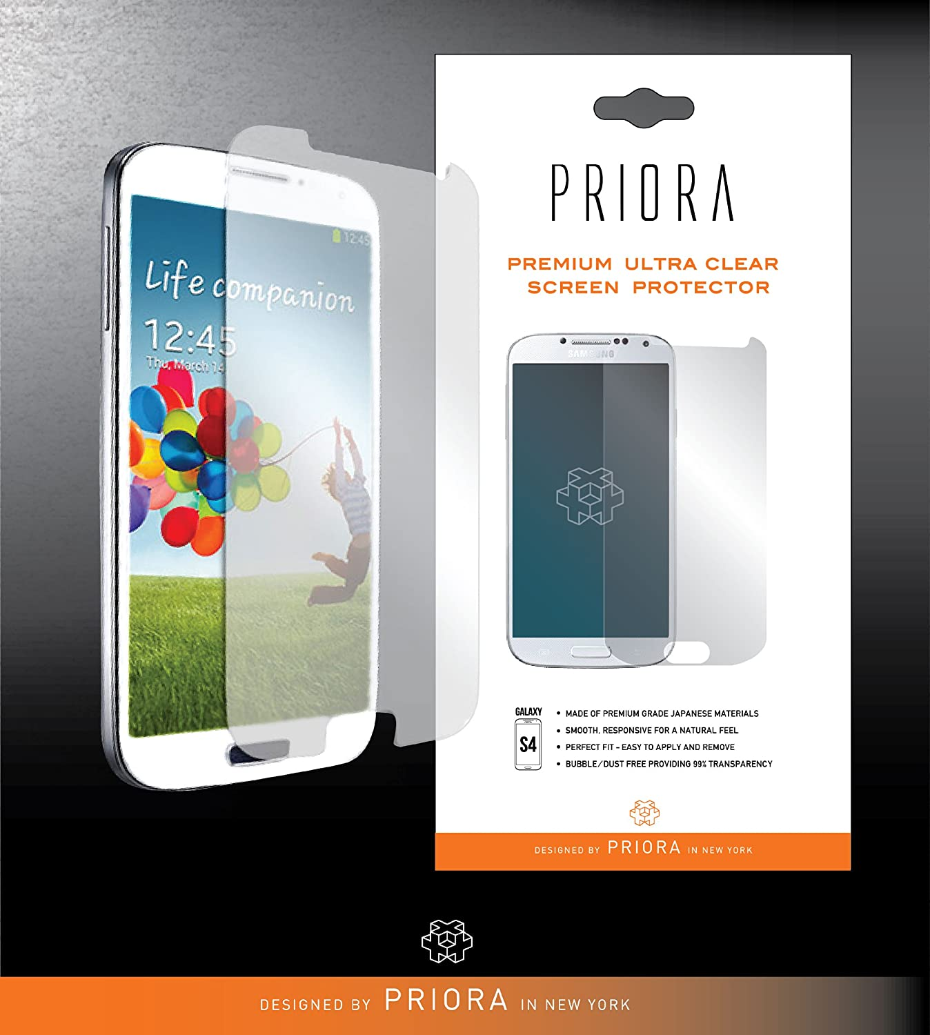 Priora Design Samsung Galaxy S4 Premium Ultra Clear Screen Protector - 3 Pack (Lifetime Warranty)