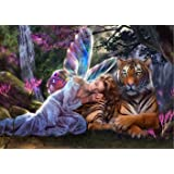 AIRDEA DIY 5D Diamond Painting by Number Kit, Angel and Tiger Crystal Rhinestone Embroidery Cross Stitch Ornaments Arts Craft Canvas Wall Decor
