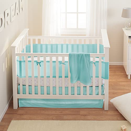 BreathableBaby Safety Crib Bedding Set Aqua Mist 3 Piece