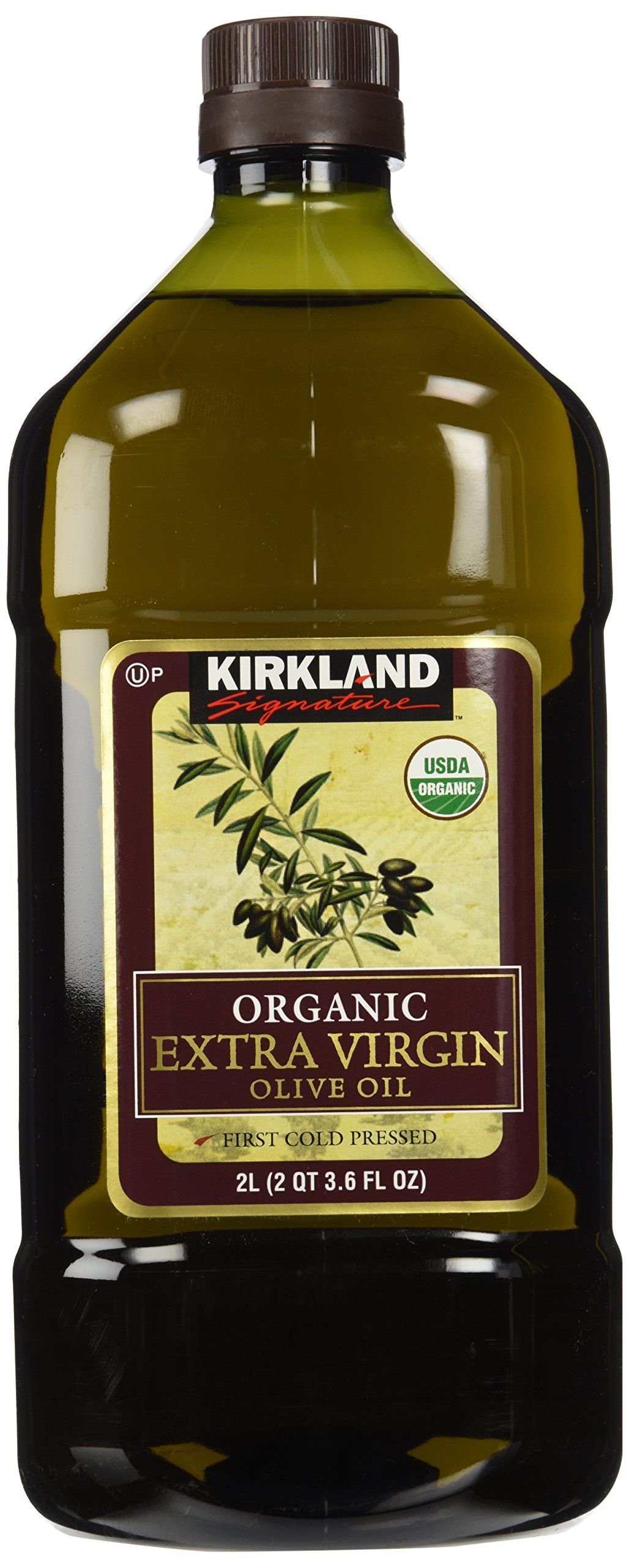 Kirkland Signature Organic Extra Virgin Olive Oil, 2L Organic Extra Virgin Olive Oil 2 Liter Plastic Bottle First Cold Pressed USDA Organic Kosher.