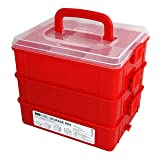 Bins & Things Stackable Toys Organizer Storage Case Compatible with LOL Surprise Dolls, LPS, Shopkins, Tsum Tsum and Lego - Portable Adjustable Box w/Carrying Handle (Color: Red)