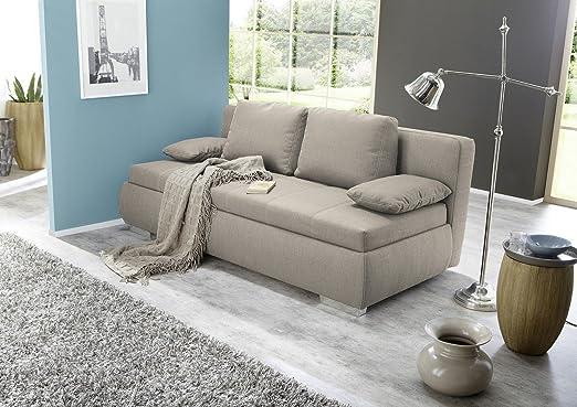 Schlafsofa MEPHISTO Stoff beige mit Gästebettfunktion und modernen Kontrastnähten