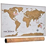 Scratch Off Map of the World - Travel Map with Outlined Canadian and US States | Scratchable World Map with Detailed Cartography | XL Large Size 33 x 24 | Vintage Style Wall Map Poster | Perfect Gift (Tamaño: 33.25 x 23.5 inches)