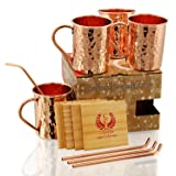 Copper Moscow Mule Mugs - Set of 4 - Premium Quality Gift Set – 100% HANDCRAFTED - Food Safe Pure Solid Copper Mugs 16 oz Hammered with BONUS: Copper Straws and Coasters by Copper Cure (Color: Classic)