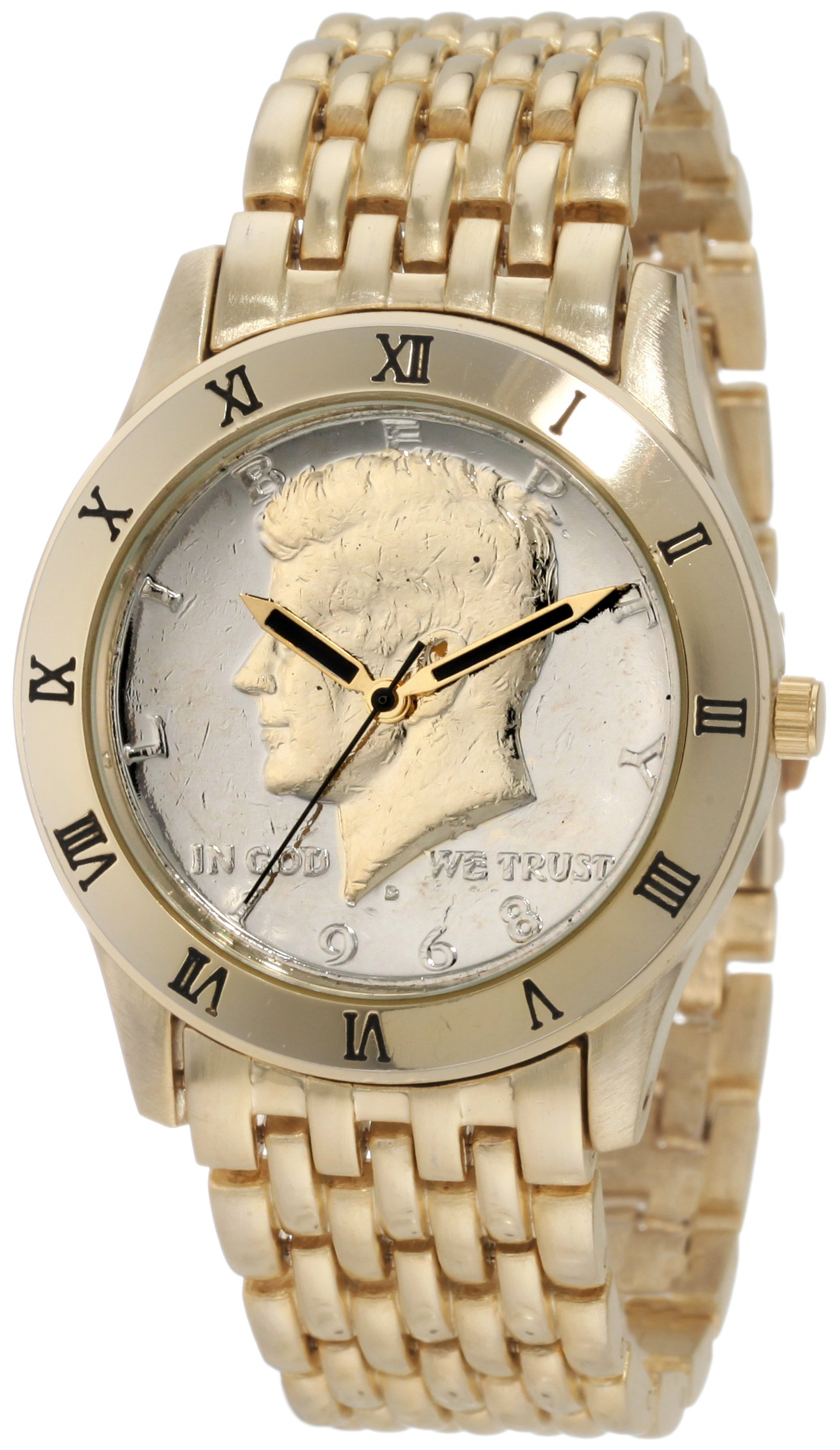August Steiner Men's CN004G-AS Round Kennedy Half Dollar Gold-tone Bracelet Watch