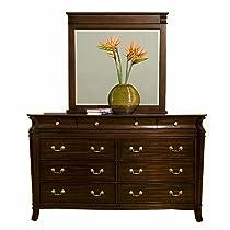 Alpine Furniture 9 Drawer Windsor Dresser & Mirror Set, Dark Cherry