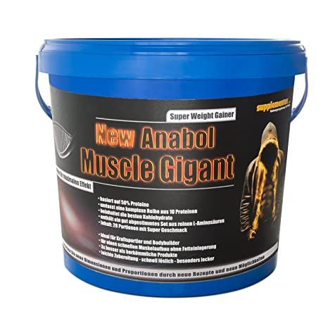 New Anabol Muscle Gigant! 2,27kg Protein Eiweißshake Anabolika Muskelaufbau Gainer BCAA Kraft Masse Geschmack Banane