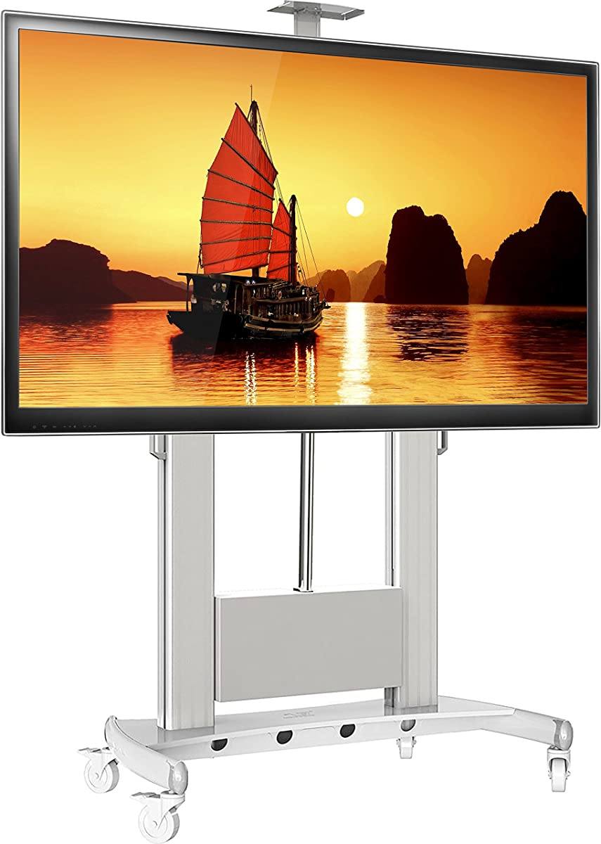 """North Bayou Universal Mobile TV Cart TV Stand with Wheels for 60"""" - 100 Inch LCD LED OLED Plasma Flat Panel Screens up to 300lbs TV Stand with Remote Control TV Lift TW100 White"""