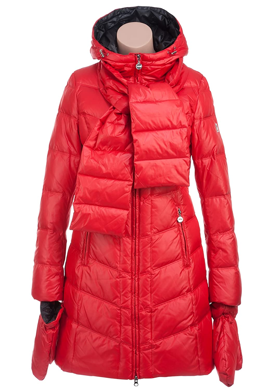 MISS SUN M507 Damen Daunenmantel mit Kapuze und Handschuhe Gr.34-42 rot