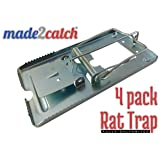 made2catch Classic Metal Rat Trap Fully Galvanized - 4 traps - Humane Rat Traps That Work - Snap Rat Trap - Durable Reusable Rat Trap - Effective Rat Traps (Color: Silver, Tamaño: Large)